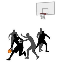 Basketball game silhouettes vector