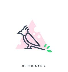 bird leaf line art template vector image