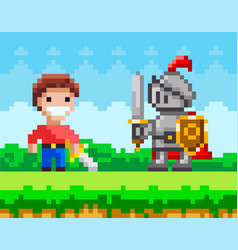 Brave man with sword fighting against pixel knight vector