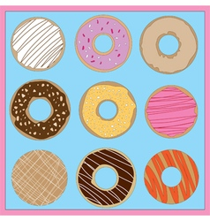 Brightly Coloured Iced Donuts vector image
