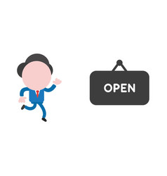 Businessman running to open hanging sign vector
