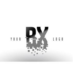 Bx b x pixel letter logo with digital shattered vector