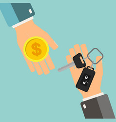 car rental or sale concept hand holding car key vector image
