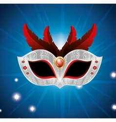 Carnival mask with red feathers lights blue vector