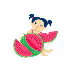 cartoon asian girl eating watermelon vector image