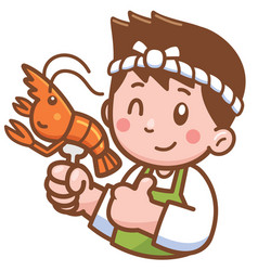 Cartoon chef presenting food vector