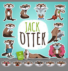cartoon otter character emoticon stickers vector image