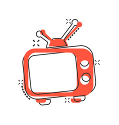 Cartoon television monitor icon in comic style tv vector