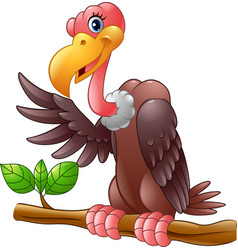 cartoon vulture on a tree branch vector image