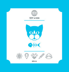 cat with fish skeleton vector image