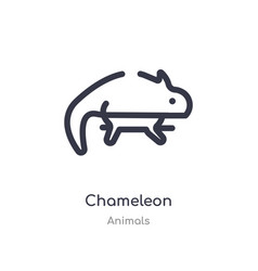 Chameleon outline icon isolated line from animals vector