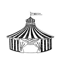 Circus tent engraving style vector