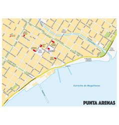 city map southern chilean city punta arenas vector image