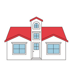 Color sections silhouette facade house with attic vector
