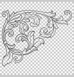 corner baroque ornament decoration element vector image