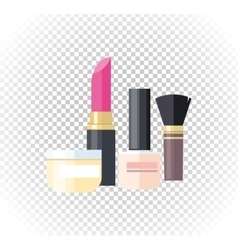 Cosmetic lipstick nail isolated vector