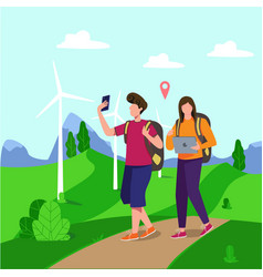 couple travelling vector image