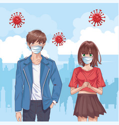 Couple with face masks and covid19 particles in vector