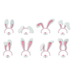 cute bunny ears and nose filter set for funny vector image