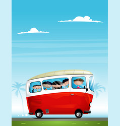 Cute cartoon children in bus vector