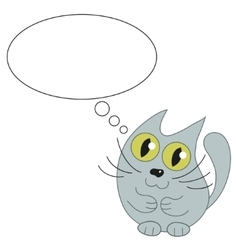 Cute cat and speech bubble for text vector