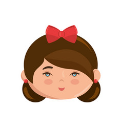cute japanese girl face cartoon vector image