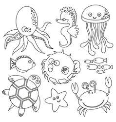 Cute outlined set undersea world animalas vector
