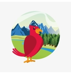 Cute red bird over forest and mountains landscape vector