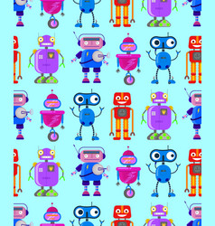 cute robots on white background vector image