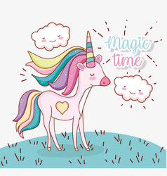 Cute unicorn hairstyle with heart and clouds vector