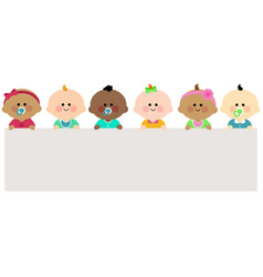 Diverse group babies and blank banner vector