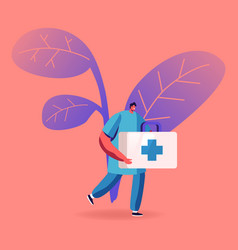 Doctor or nurse in robe with medical tools in box vector
