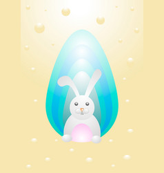 easter rabbit with easter egg vector image