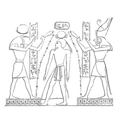 Egyptian bas-relief are between thoth and horus vector