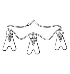 Egyptian necklace with three charms vintage vector