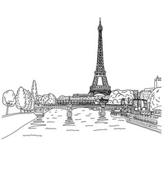 eiffel tower in paris with lamdscape vector image