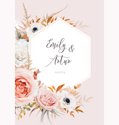 elegant fall wedding invite floral card design vector image
