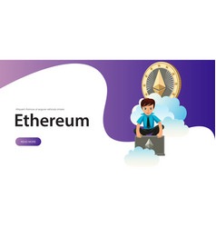 Ethereum crypto currency poster vector