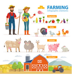 Farming infographic elements two farmers - man vector