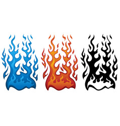 fire in red blue and black flames vector image