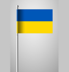 Flag of ukraine national flag on flagpole vector