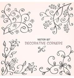Floral decorative corners vector