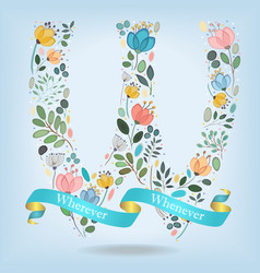 floral letter w with blue ribbon vector image
