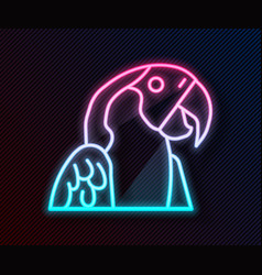 Glowing neon line macaw parrot bird animal icon vector
