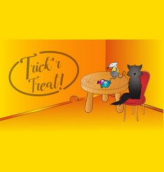 halloween funny scene with blackcat and mouse and vector image