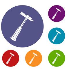 Hammer slag of welder icons set vector