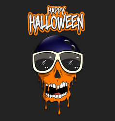 Happy halloween bowling ball with skull vector