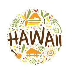 hawaii banner template summer paradise tropical vector image