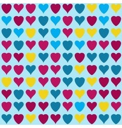 hearts pattern on blue background vector image vector image