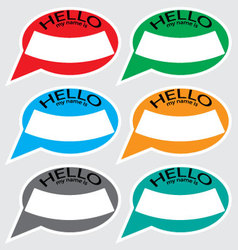 Hello my name is sticker badge set color vector image